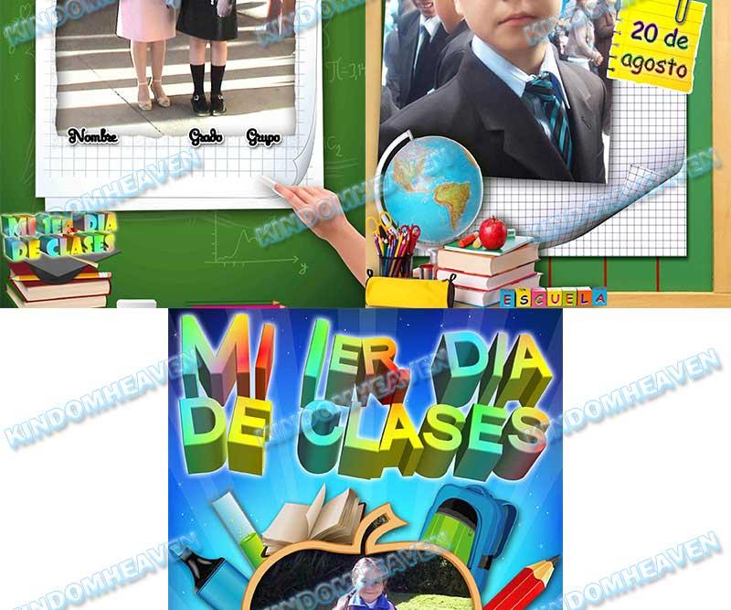 plantilla psd mi primer dia en el colegio mi primer dia de clases psd fotomontaje recuerdos