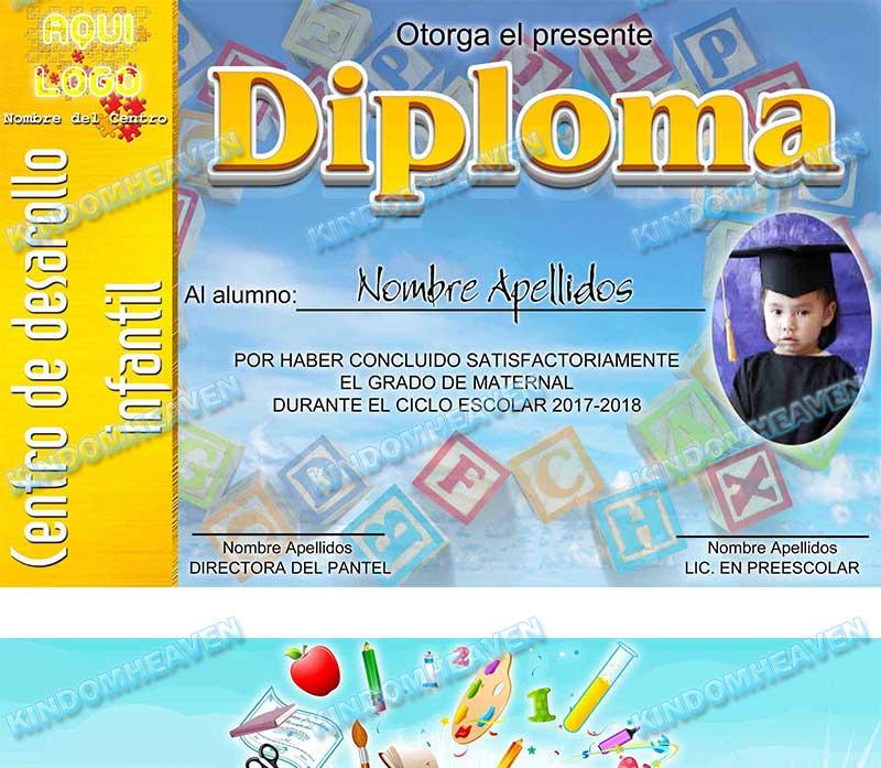 plantillas templates diplomas psd photoshop infantiles preescolar escolares primaria bachilerato