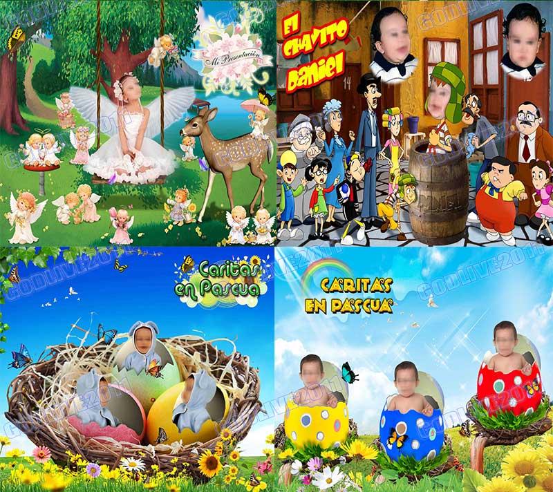 templates infantiles fotomontaje niña angelito paisaje caritas bebes huevos pascua