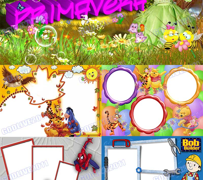 plantilla psd fotomontaje montaje infantil original primavera colorida
