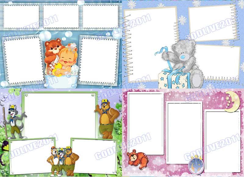 plantillas marcos png infantiles para fotos niño niña
