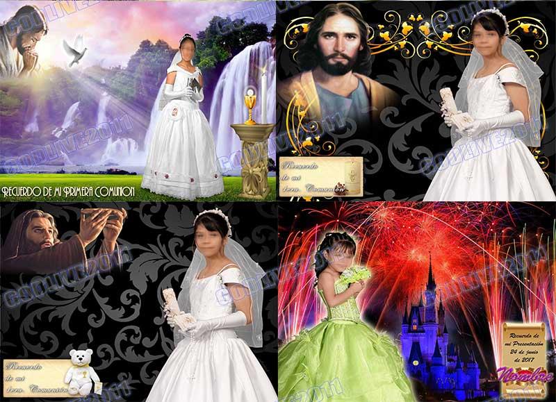 plantillas psd fotomontajes montajes bautizo primera comunion presentacion iglesia
