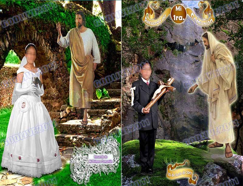 plantilla psd con JESUS primera comunion bautizo