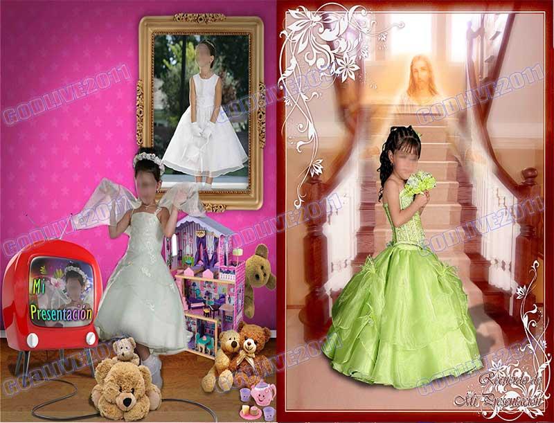 fotomontaje psd primera comunion infantil niña niño bautizo