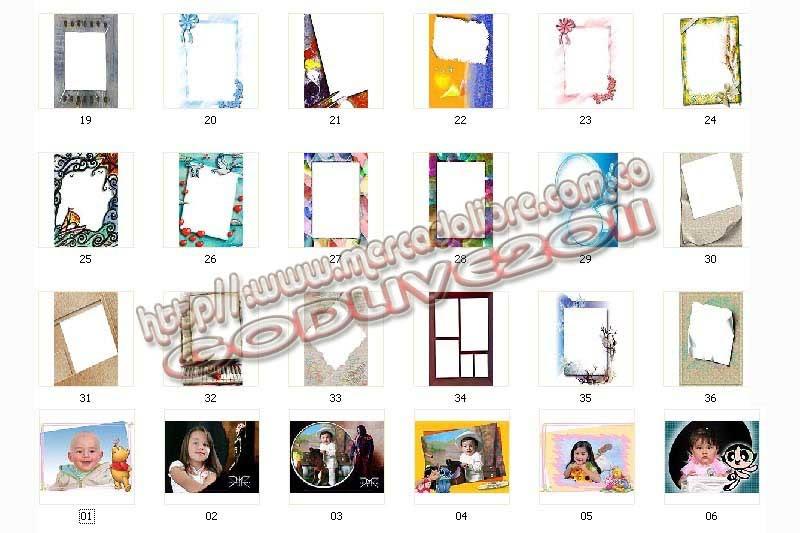 plantillas psd photoshop marcos frames infantiles, niños niñas