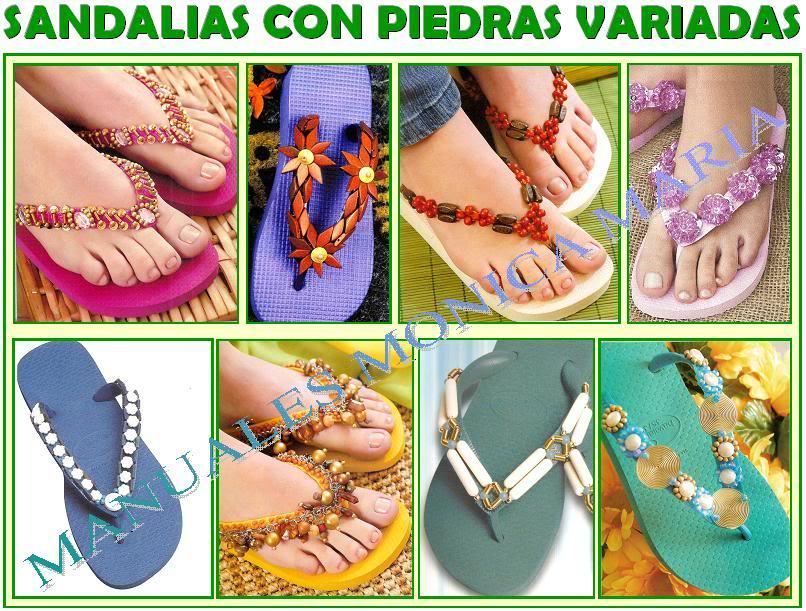 sandalias con piedras variadas