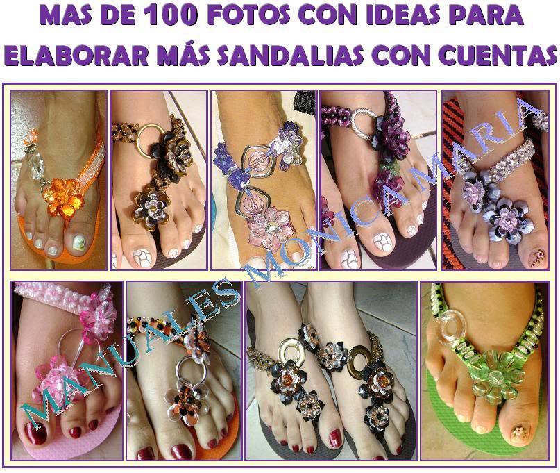 ideas para elaborar decorar sandalias con cuencas
