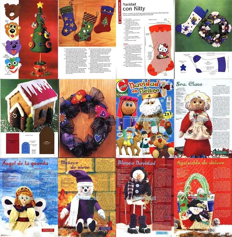 navidad con fieltro manualidades navideñas revistas patrones moldes