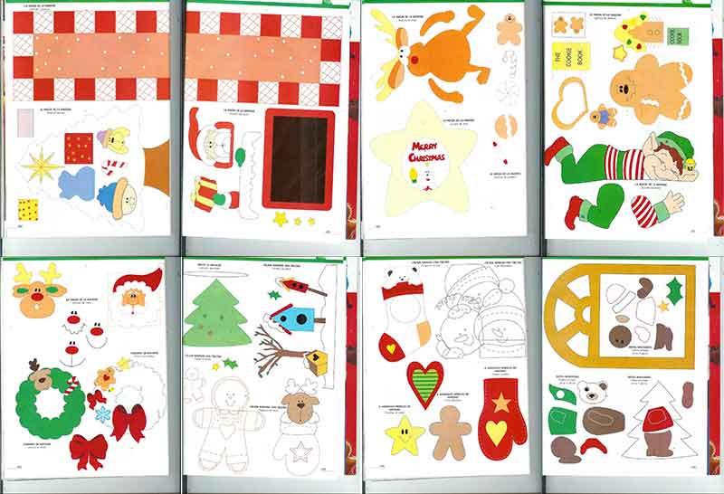 Navidad Con Patrones foami fieltro goma eva punto de cruz ganchillo tejidos country paso a paso moldes instrucciones revistas