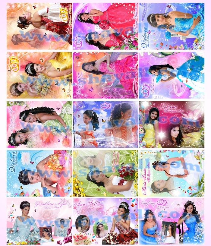 plantillas psd photoshop fotobordes, fotomontajes 15 años, fototarjetas, leyendas, marcos decorativos