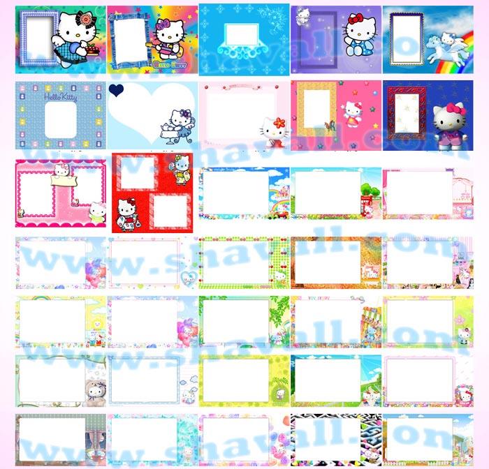 plantillas psd Fotobordes Clásicos Caricaturas Infantiles Animados Flores Navidad Psd Capas photoshop