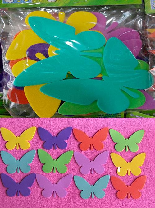 Figuras en fomy troqueladas Mariposa para floristería en goma