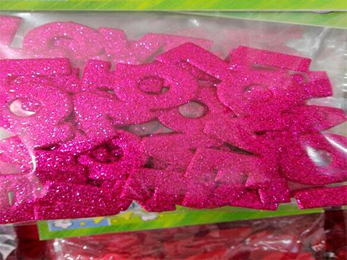Figuras en foami escarchado abecedario 3 cm letras alfabeto en goma ev