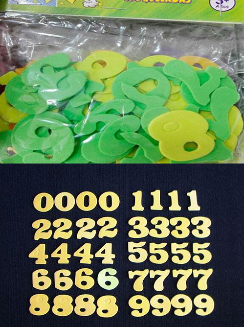 Figuras en goma eva números en fomi liso para decorar manualidades