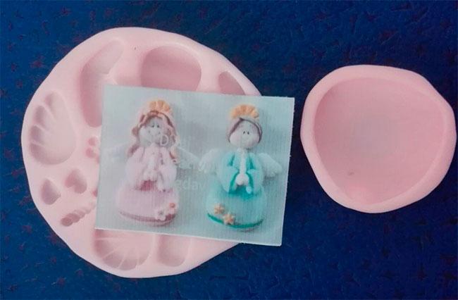 Molde silicona ángel bautizo y comunión para aplique en fomi y fondant