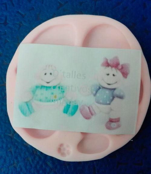 Molde Silicona Bebé glotón No.1 para decorar pasta flexible o fondant