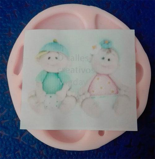 Molde Silicona Bebé glotón No.2 para decorar pasta flexible o fondant