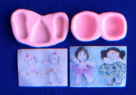 Molde Silicona base para crear muñeca glotona pasta o fondant