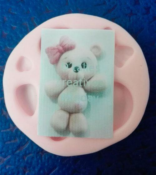 Molde silicona oso baby shower para pasta flexible cupcakes y foami
