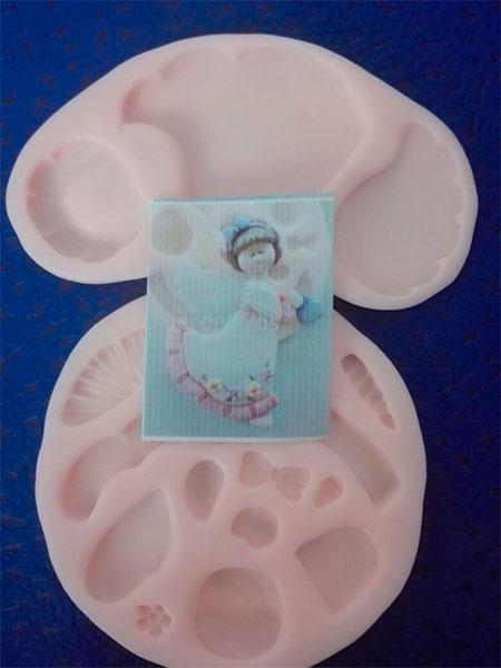 Molde silicona ángel para apliques en foami flexible y fondant