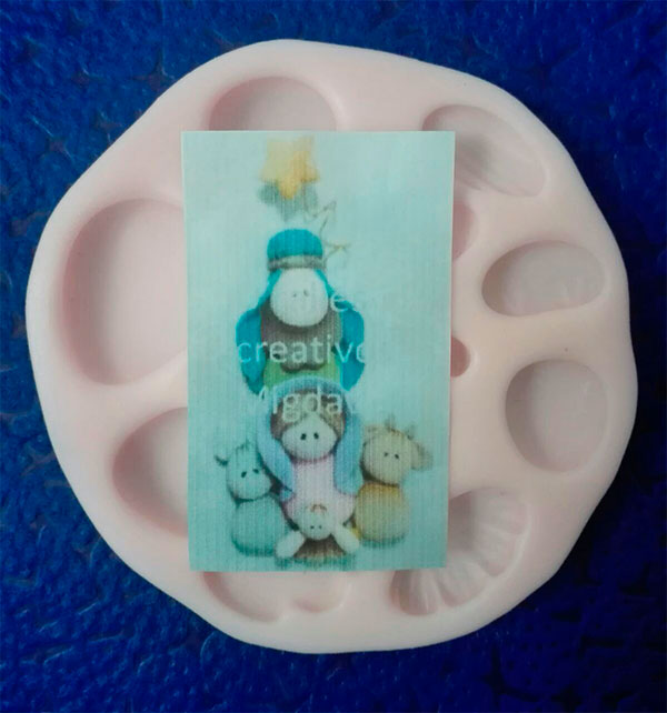 Molde silicona navidad nacimiento no.5 para apliques en fomi y pasta