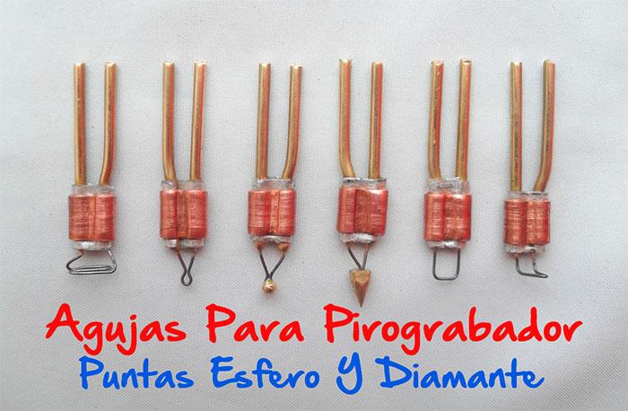 Agujas para pirograbador  punta diamante y esfero  Puntas para pirogra