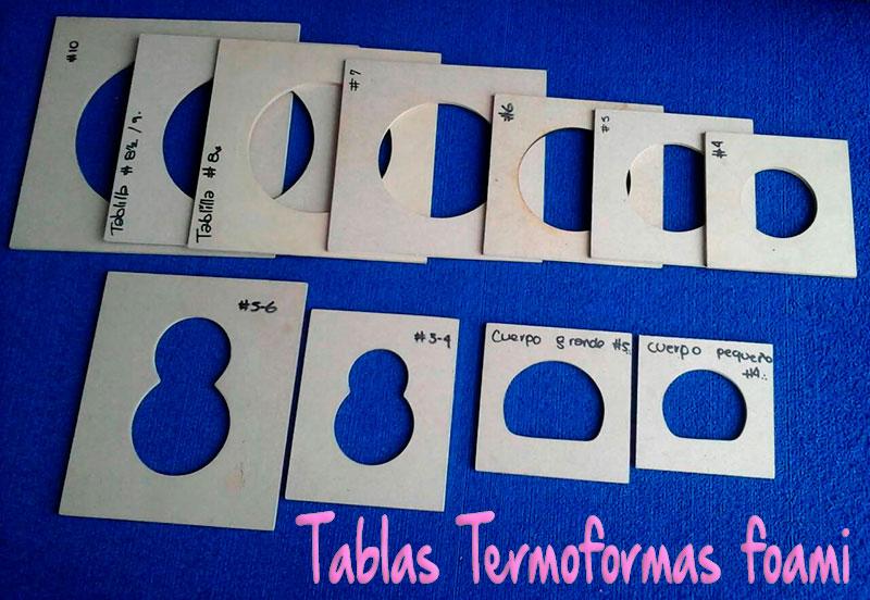 Tablas termoformas para cabeza pies y cuerpo de fofuchas