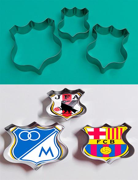 Cortador de galletas de escudo deportivo utensilio para fondant