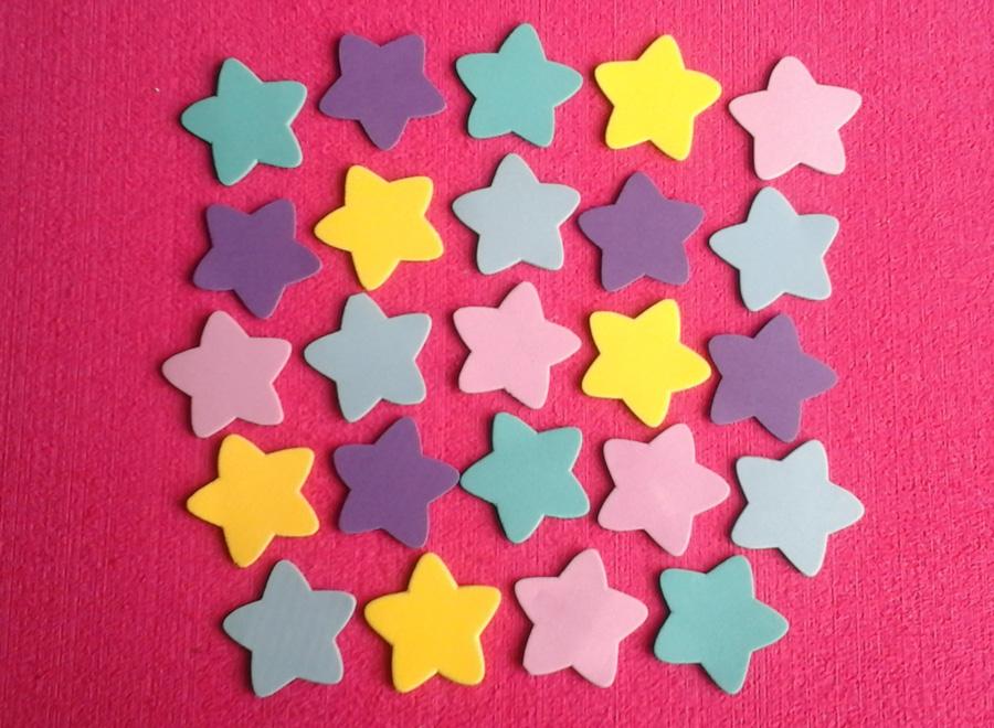 Set Figuras en foamy estrellas en foami plano para decora manualidades