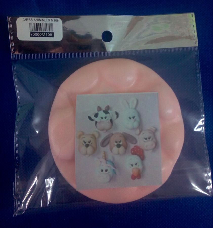 Molde silicona caras de animales pets para Porcelana o fondant