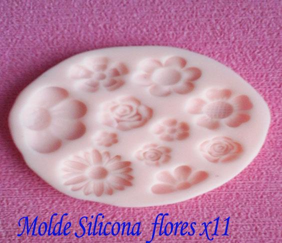 Molde en silicona Flores surtidas para crear apliques en porcelana fon