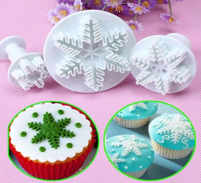 Molde expulsor copo de nieve navidad en fondant pastillaje y porcelani