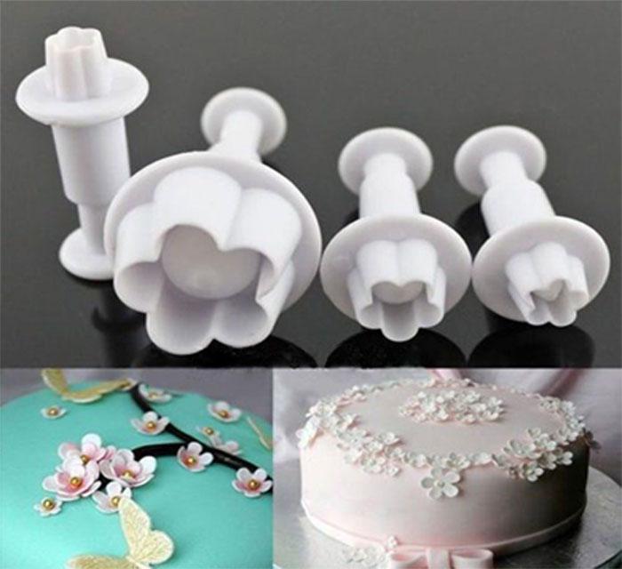 Molde expulsor flor de durazno para decorar tortas y pasta flexible