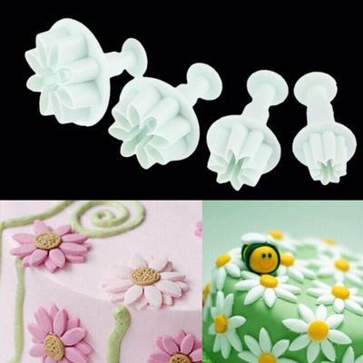Molde expulsor flor margarita decoración tortas fondant manualidades