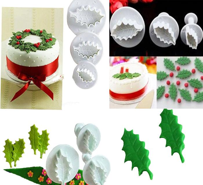 Cortador de hoja de acebo para navidad  decora tortas y pastas