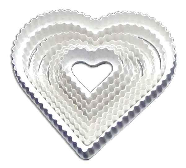 Cortador corazón rizado para galletas masmelos porcenala fría