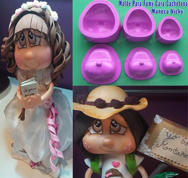 Molde para fomi cara vicky muñeca chachetona manualidades foamy