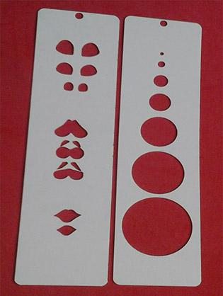 Plantilla Stencil Marcador De Ojos bocas No.4 y Círculos para eva